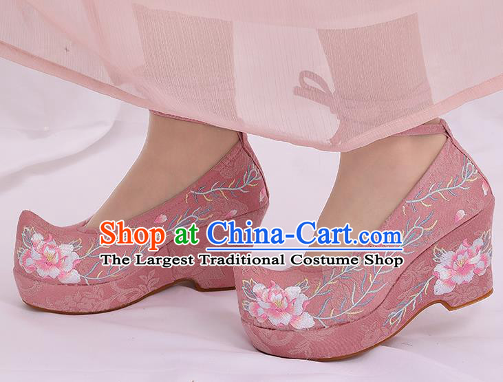 Asian Chinese Pink High Heel Shoes Embroidered Shoes Traditional Opera Shoes Hanfu Shoes for Women