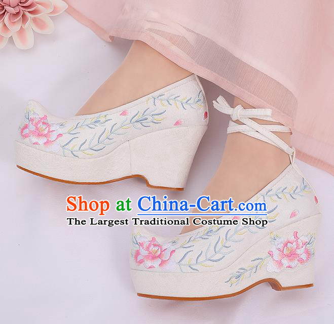 Asian Chinese White High Heel Shoes Embroidered Shoes Traditional Opera Shoes Hanfu Shoes for Women