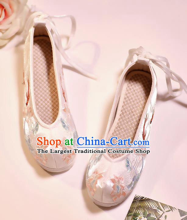 Asian Chinese Embroidered Fish Lotus White Shoes Hanfu Shoes Traditional Opera Shoes Princess Shoes for Women