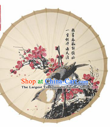 Chinese Traditional Printing Plum Birds Oil Paper Umbrella Artware Paper Umbrella Classical Dance Umbrella Handmade Umbrellas