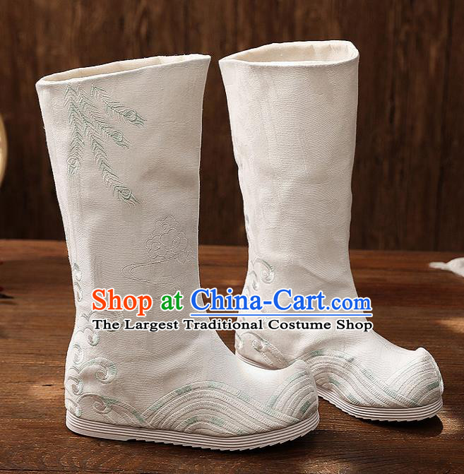 Asian Chinese White Embroidered Boots Traditional Opera Boots Hanfu Shoes for Women