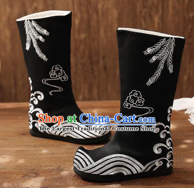 Asian Chinese Black Embroidered Boots Traditional Opera Boots Hanfu Shoes for Women