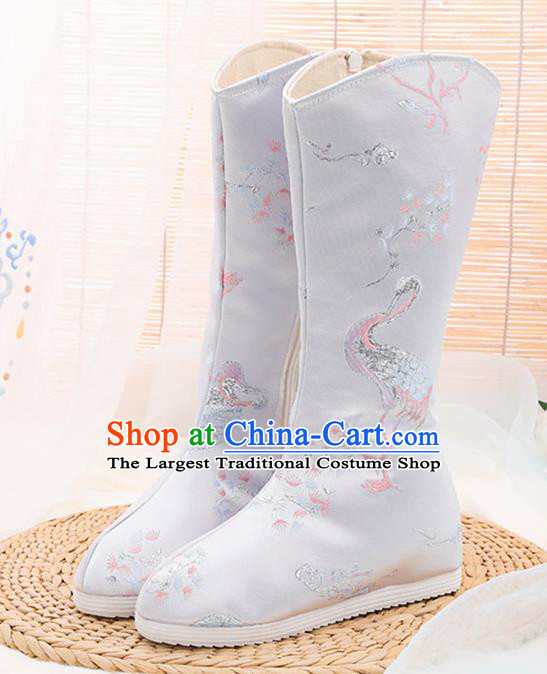 Asian Chinese Embroidered Plum Crane Grey Boots Traditional Opera Boots Hanfu Shoes for Women