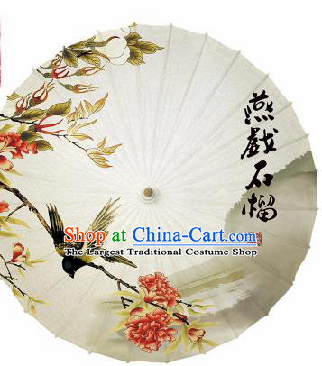 Chinese Traditional Printing Pomegranate Blossom Oil Paper Artware Paper Umbrella Classical Dance Umbrella Umbrella Handmade Umbrella