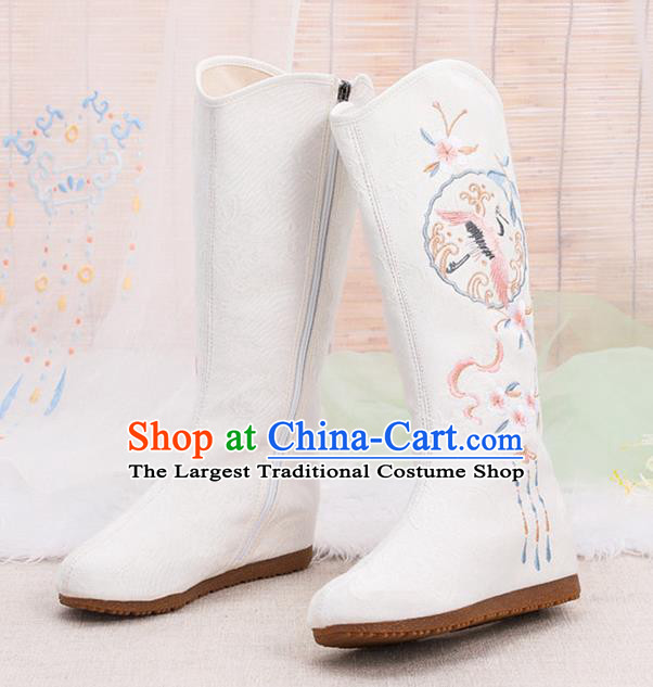 Asian Chinese Embroidered Crane White Boots Traditional Opera Boots Hanfu Shoes for Women