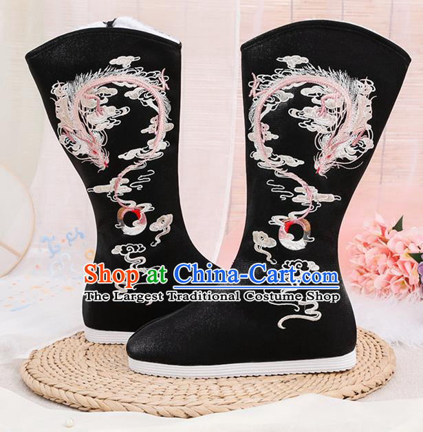 Asian Chinese Winter Embroidered Dragon Black Boots Traditional Opera Boots Hanfu Shoes for Women