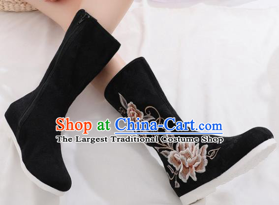 Asian Chinese Embroidered Peony Black Boots Traditional Opera Boots Hanfu Shoes for Women