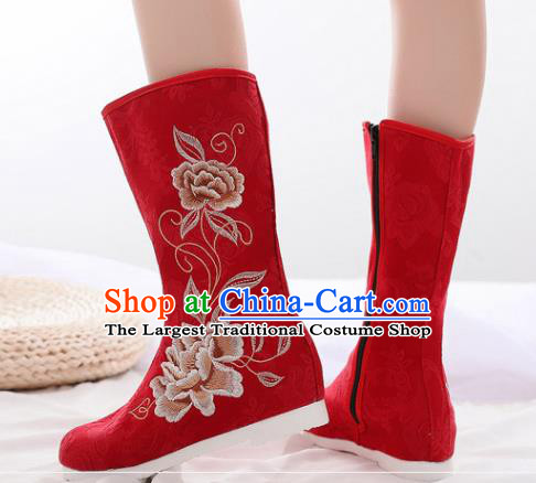 Asian Chinese Embroidered Peony Red Boots Traditional Opera Boots Hanfu Shoes for Women