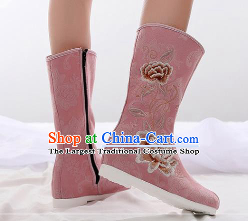 Asian Chinese Embroidered Peony Pink Boots Traditional Opera Boots Hanfu Shoes for Women