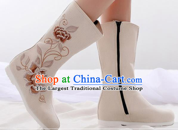 Asian Chinese Embroidered Peony Beige Boots Traditional Opera Boots Hanfu Shoes for Women