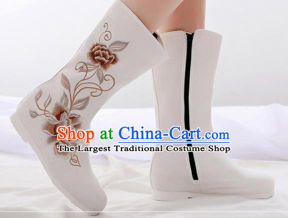 Asian Chinese Embroidered Peony White Boots Traditional Opera Boots Hanfu Shoes for Women