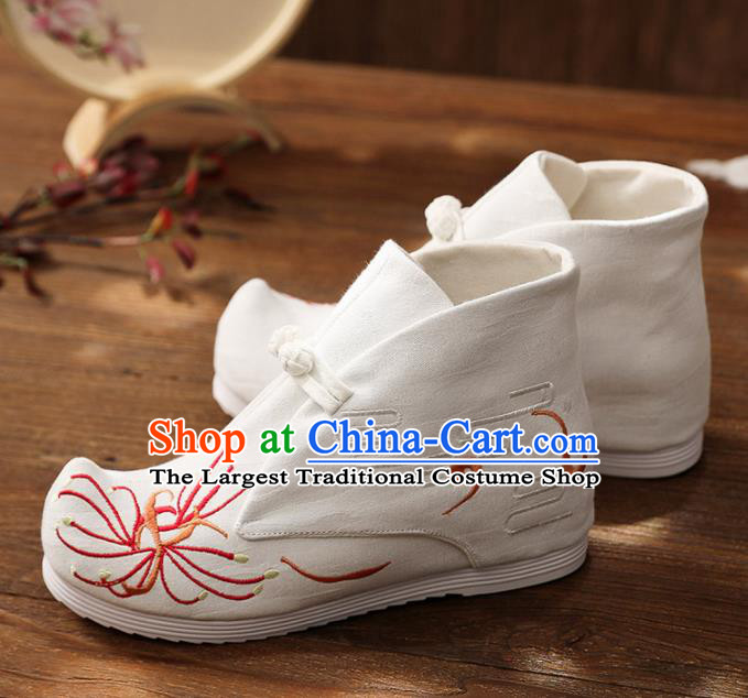 Asian Chinese Embroidered Red Spider Lily Boots Traditional Opera Boots Hanfu Shoes for Women