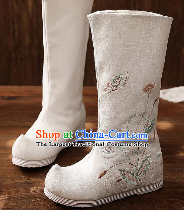 Asian Chinese Embroidered White High Boots Traditional Opera Boots Hanfu Shoes for Women