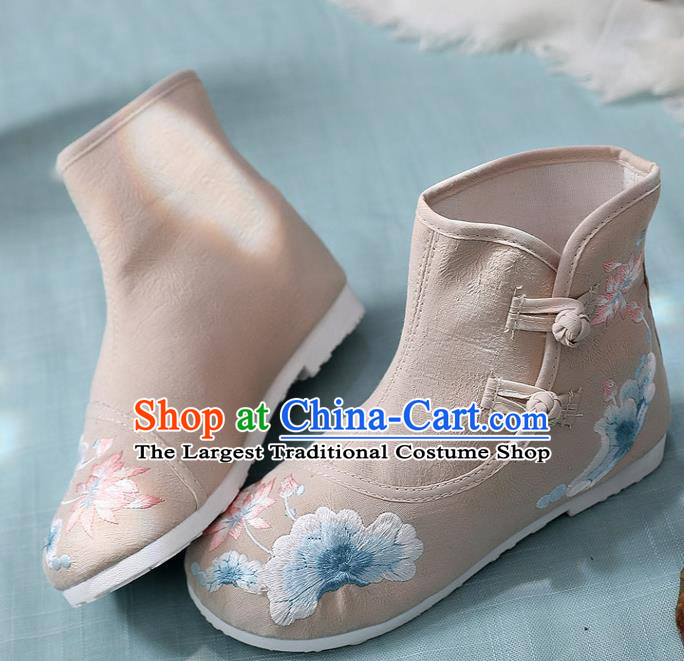 Asian Chinese Embroidered Lotus Khaki Ankle Boots Traditional Opera Boots Hanfu Shoes for Women