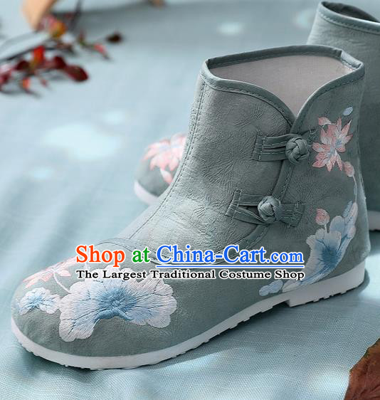 Asian Chinese Embroidered Lotus Green Ankle Boots Traditional Opera Boots Hanfu Shoes for Women