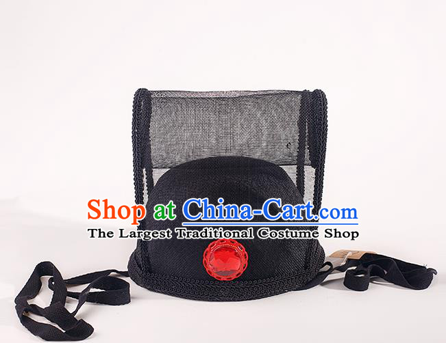 Chinese Traditional Ming Dynasty Scholar Black Veil Hat Ancient Minister Headdress for Men