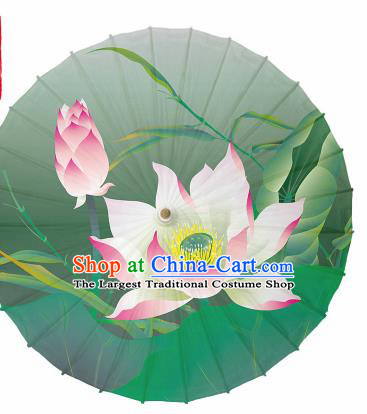 Chinese Traditional Printing Lotus Green Oil Paper Umbrella Artware Paper Umbrella Classical Dance Umbrella Handmade Umbrellas