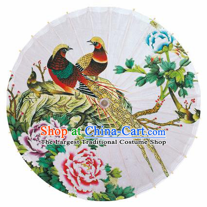 Chinese Printing Peony Birds Oil Paper Umbrella Artware Paper Umbrella Traditional Classical Dance Umbrella Handmade Umbrellas