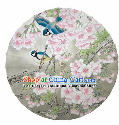 Chinese Printing Begonia Birds Oil Paper Umbrella Artware Paper Umbrella Traditional Classical Dance Umbrella Handmade Umbrellas