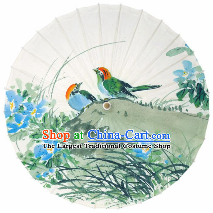 Chinese Printing Orchid Birds Oil Paper Umbrella Artware Paper Umbrella Traditional Classical Dance Umbrella Handmade Umbrellas