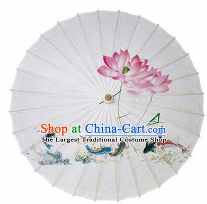 Chinese Printing Lotus Fishes Oil Paper Umbrella Artware Paper Umbrella Traditional Classical Dance Umbrella Handmade Umbrellas