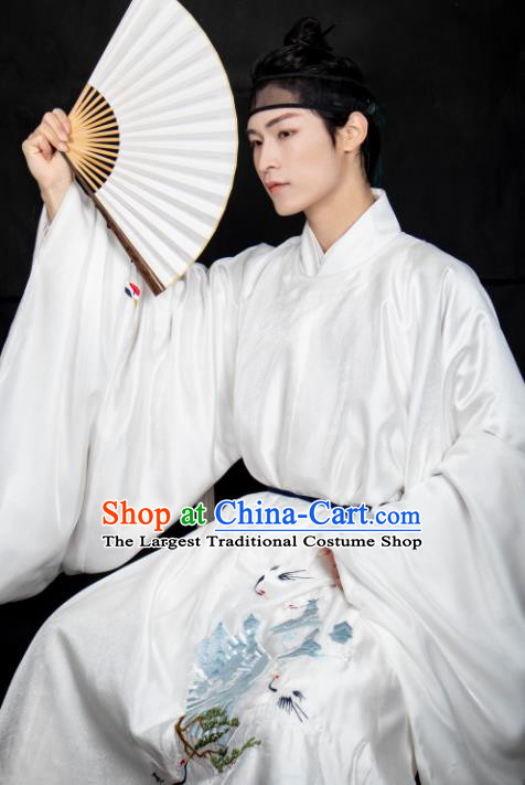 Chinese Ancient Scholar White Costumes Traditional Ming Dynasty Nobility Childe Clothing for Men