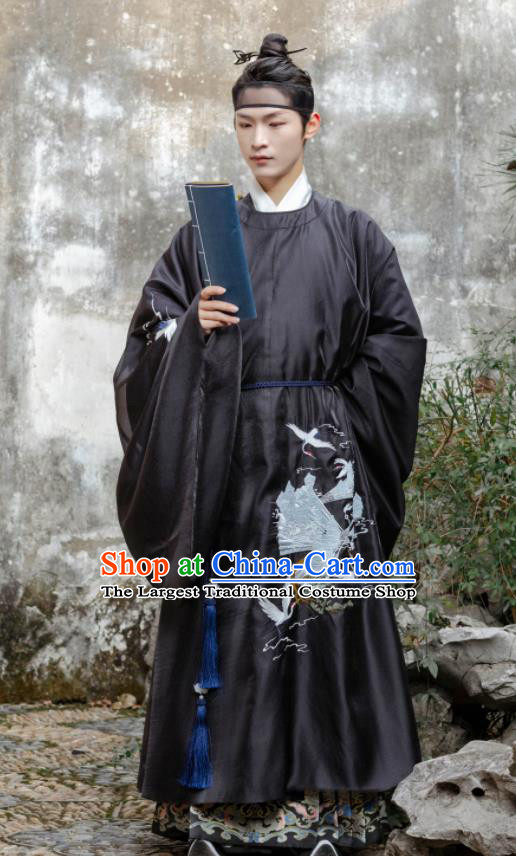 Chinese Ancient Scholar Black Costumes Traditional Ming Dynasty Nobility Childe Clothing for Men