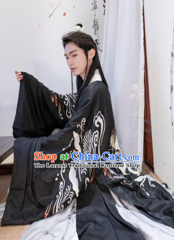 Chinese Ancient Prince Black Costumes Traditional Ming Dynasty Nobility Childe Clothing for Men