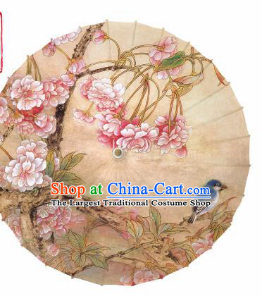 Chinese Printing Begonia Bird Oil Paper Umbrella Artware Paper Umbrella Traditional Classical Dance Umbrella Handmade Umbrellas