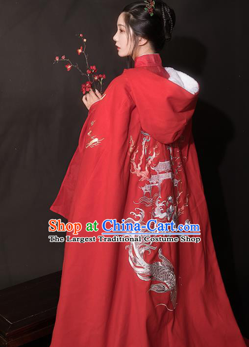 Chinese Ancient Hanfu Embroidered Red Cloak Traditional Ming Dynasty Princess Costumes for Women