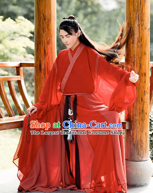Chinese Traditional Cosplay Swordsman Red Costumes Ancient Crown Prince Clothing for Men