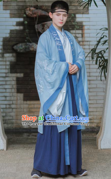 Chinese Traditional Jin Dynasty Scholar Costumes Ancient Nobility Childe Clothing for Men