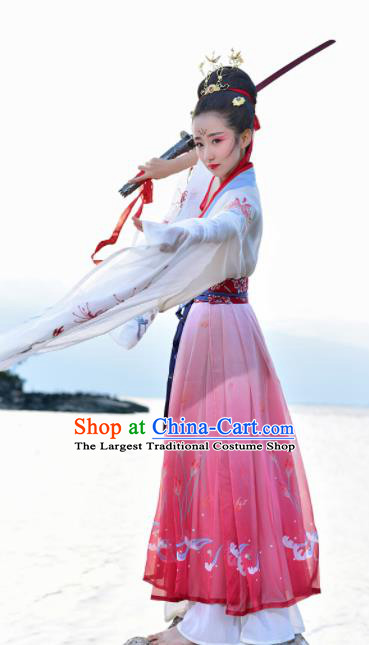 Chinese Traditional Jin Dynasty Imperial Consort Costumes Ancient Goddess Hanfu Dress for Women