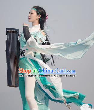 Chinese Traditional Cosplay Swordswoman Green Costumes Ancient Fairy Goddess Hanfu Dress for Women