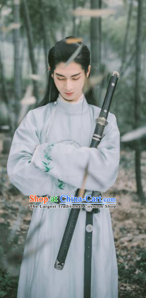 Chinese Traditional Cosplay Tang Dynasty Swordsman Blue Costumes Ancient Scholar Clothing for Men