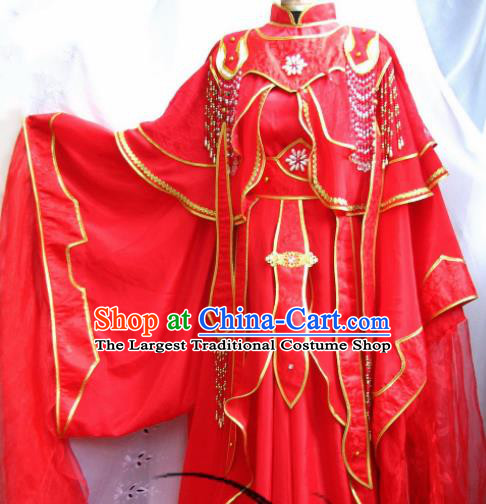 Chinese Traditional Cosplay Swordsman Wedding Red Costumes Ancient Crown Prince Clothing for Men