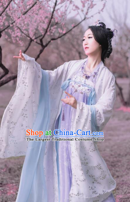 Chinese Traditional Tang Dynasty Princess Costumes Ancient Goddess Lilac Hanfu Dress for Women
