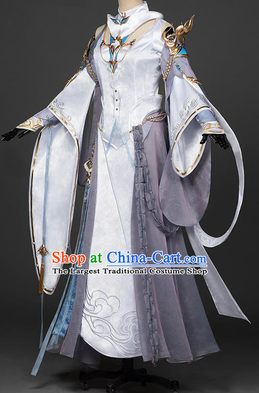 Chinese Traditional Cosplay Peri Goddess Costumes Ancient Female Swordsman White Hanfu Dress for Women