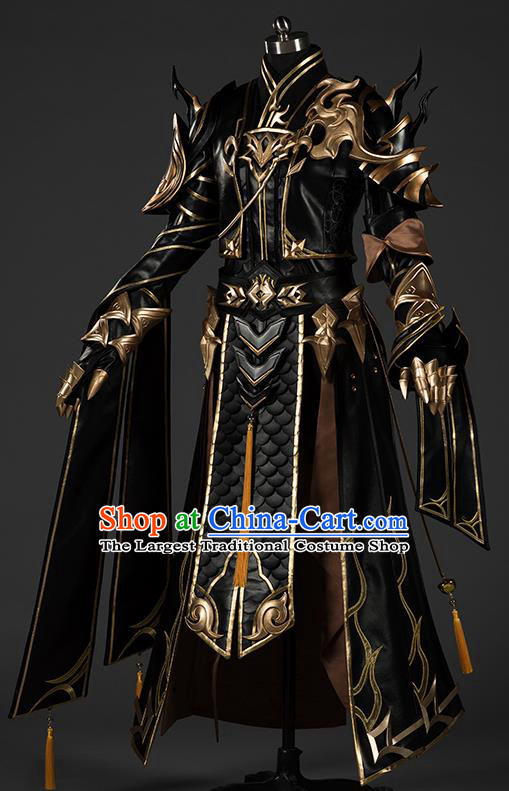 Chinese Traditional Cosplay General King Black Costumes Ancient Swordsman Clothing for Men
