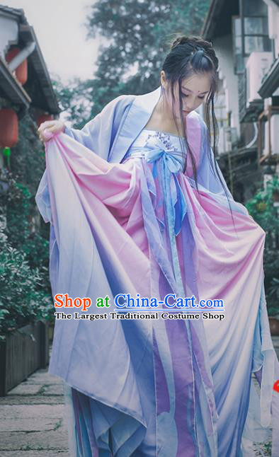 Chinese Traditional Cosplay Fairy Princess Purple Costumes Ancient Female Swordsman Hanfu Dress for Women