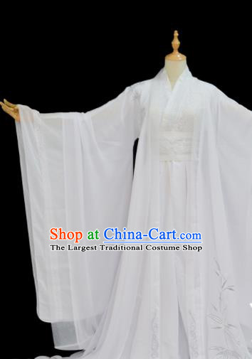 Chinese Traditional Cosplay Taoist Priest White Costumes Ancient Swordsman Clothing for Men