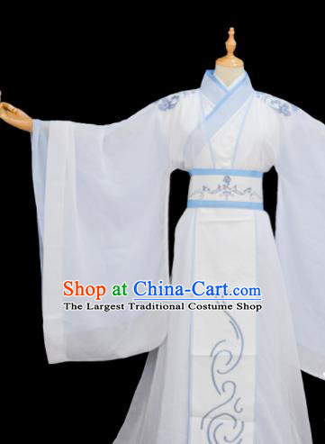 Chinese Traditional Cosplay Taoist Priest Lan Wangji White Costumes Ancient Swordsman Clothing for Men