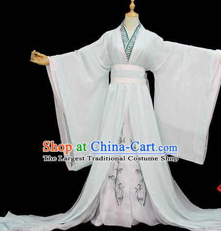 Chinese Traditional Cosplay Taoist Priest Light Green Costumes Ancient Swordsman Clothing for Men