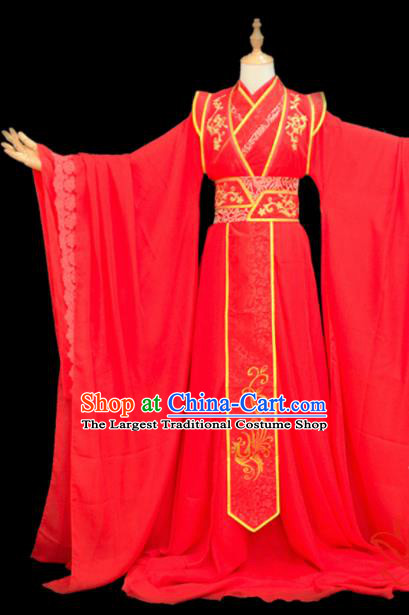 Chinese Traditional Cosplay Crown Prince Wedding Red Costumes Ancient Swordsman Clothing for Men