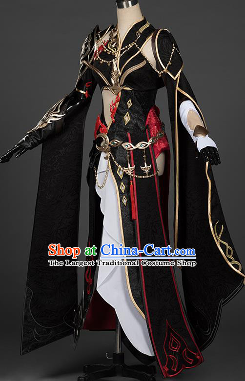 Top Grade Chinese Cosplay Knight Queen Black Dress Ancient Female Swordsman Costume for Women