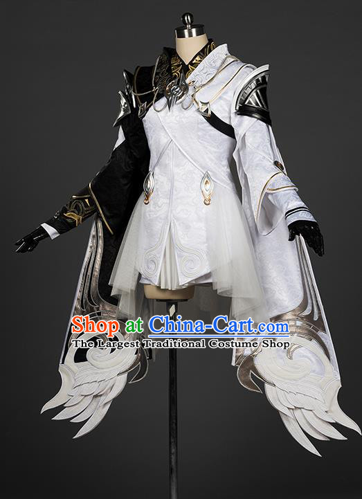 Top Grade Chinese Cosplay Knight White Short Dress Ancient Female Swordsman Costume for Women