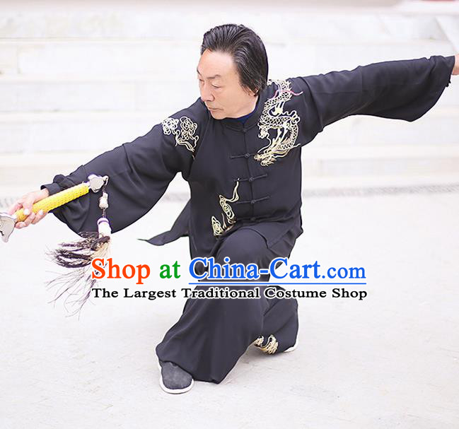 Chinese Traditional Tai Chi Training Embroidered Dragon Black Costumes Martial Arts Performance Outfits for Men