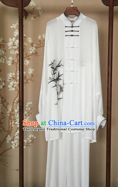 Chinese Traditional Tai Chi Training Printing Bamboo White Costumes Martial Arts Performance Outfits for Men