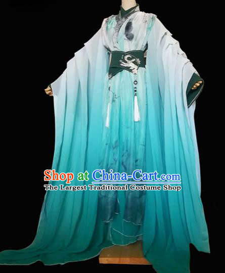 Chinese Traditional Cosplay Swordsman Green Costumes Ancient Crown Prince Clothing for Men