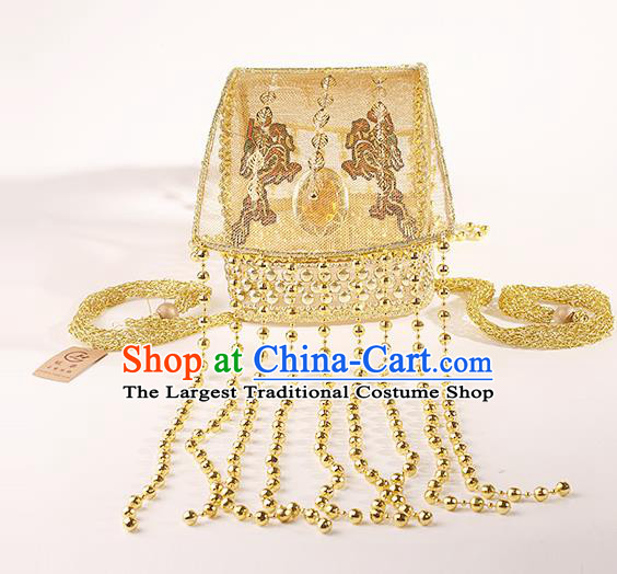 Chinese Traditional Tang Dynasty Emperor Golden Tassel Hat Ancient Drama Monarch Headdress for Men